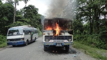 स्कूल बसमा आगजनी: माओवादी हिंसा गमन