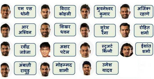 विश्वकप क्रिकेटका लागि भारतीय खेलाडीको छनोट, युवराज बाहिरिए