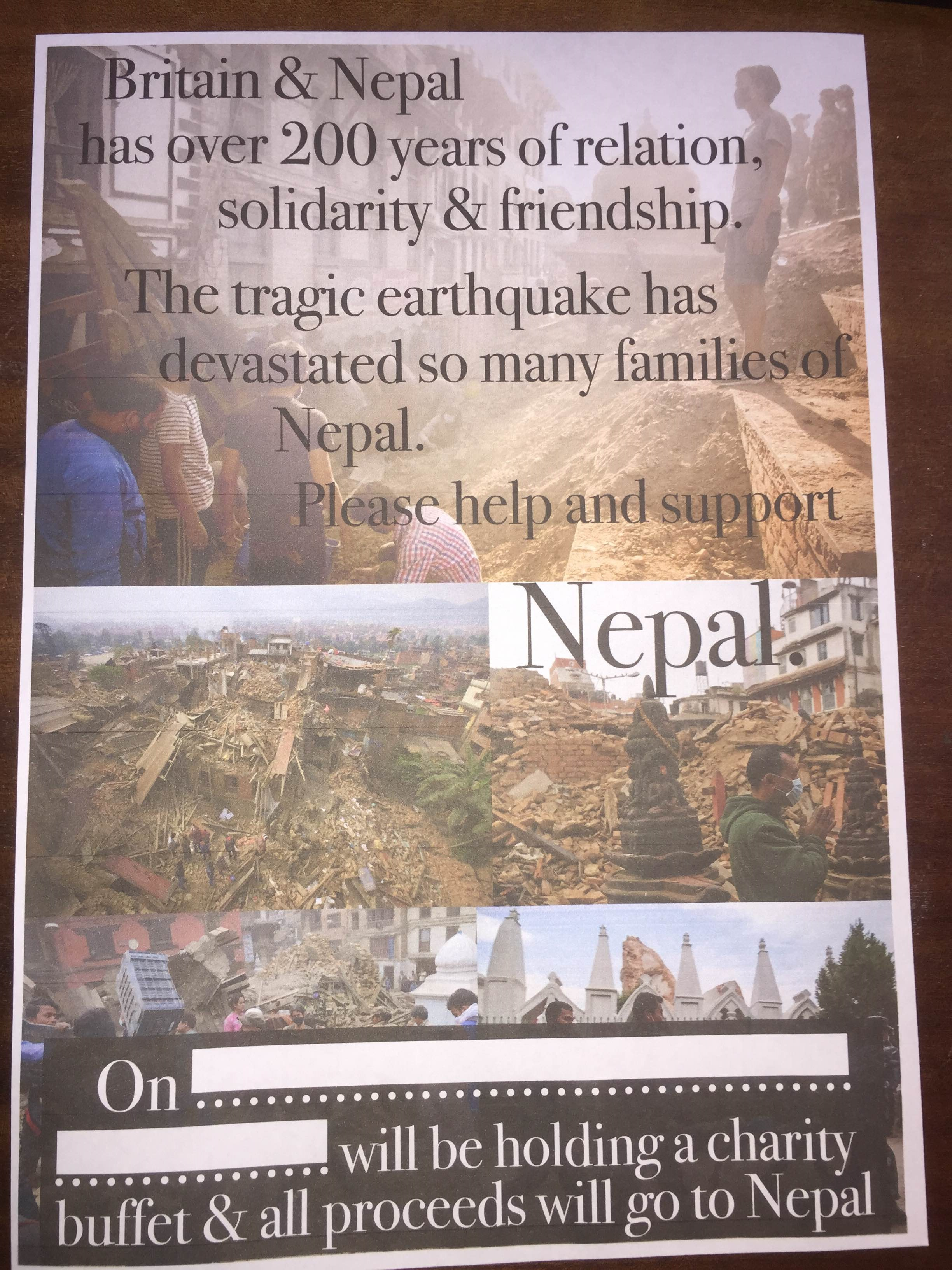 बेलायतका नेपाली रेष्टुरेन्टहरुले एकदिनको कमाइ भुकम्प पीडितलाई दिने