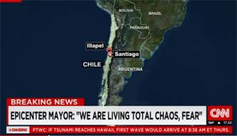 चिलीमा ८.३ म्याग्निच्यूडको भूकम्प