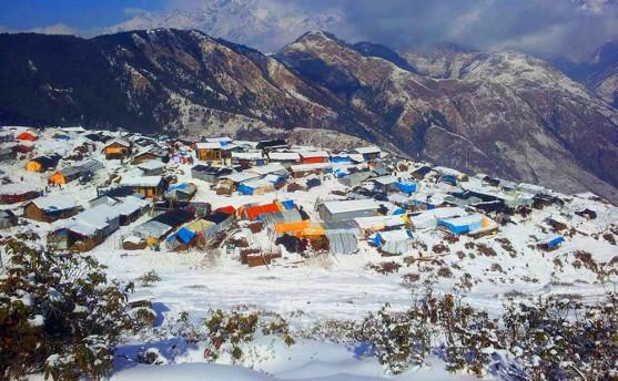 गोरखामा हिमपात (फोटो फिचर)