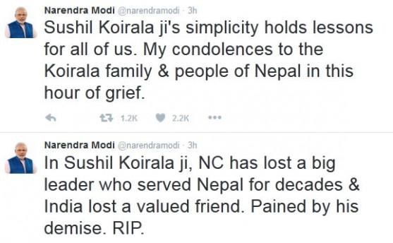 कोइरालाको निधनमा भारतीय प्रधानमन्त्रीको समवेदना